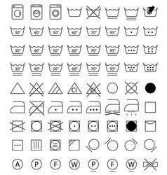 laundry icons washing symbols vector image