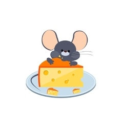 Little gray mouse chewing cheese on a plate vector