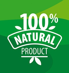 logo for 100 natural products on a green vector image