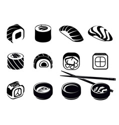 Monochrome japanese food icons set vector