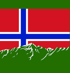 mountains with flag of norway vector image