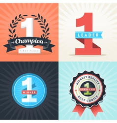 Number one first place winner ribbons and badges vector