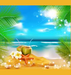 Sea palm trees coconut vector