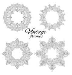 Set of round black and white vintage frames vector