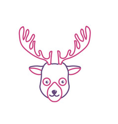 Silhouette cute elk head wild animal vector