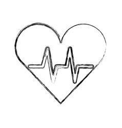 Sketch draw heart beat pulse vector