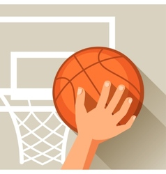 Sports hand shot basketball ball through hoop vector image vector image