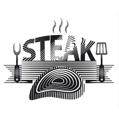 steak sign black and white vector image