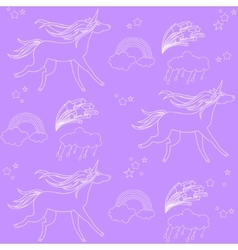 White outline unicorns with clouds and rainbow on vector