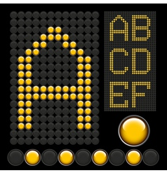 Yellow button letters 1 vector