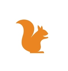 Orange squirrel sits minimalism into flat vector