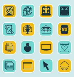 Set of 16 internet icons includes send data data vector