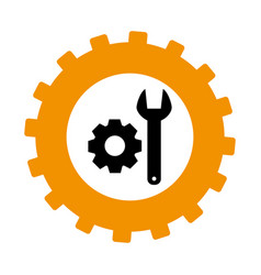 Silhouette in shape of gear with wrench and pinion vector