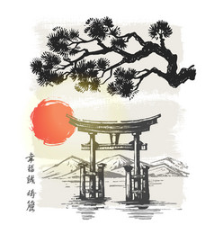 itsukushima shrine japan vector image