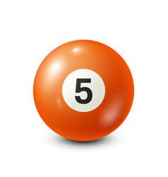 Billiardorange pool ball with number 5snooker vector