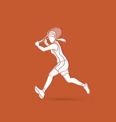 Tennis player running woman play tennis vector