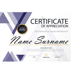 Purple triangle elegance horizontal certificate vector