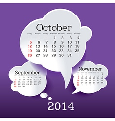 October 2014 bubble speech calendar vector