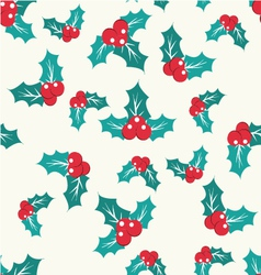 Pattern with holly berry on a white background vector