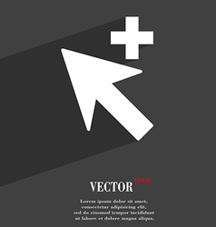 Cursor arrow plus add icon symbol flat modern web vector