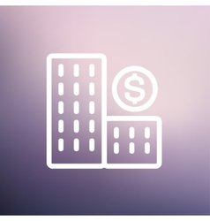 Money building thin line icon vector