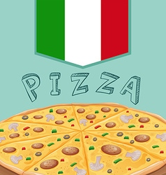 Tray of italian pizza vector
