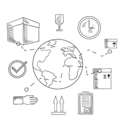 Delivery and shipping service sketched icons vector