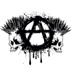 Symbol anarchy and two skulls vector