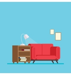 Living room with sofa bed and a bedside table book vector