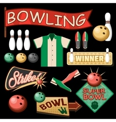Bowling Equipment Set Flat Icons Collection vector image