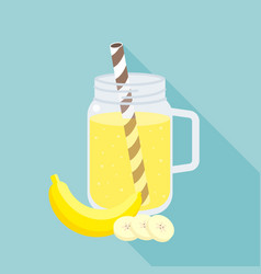 banana smoothie in mason jar flat design vector image vector image