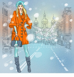 Beautiful fashionable girl on the wide avenue vector