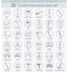 Construction tools outline icon set vector image vector image