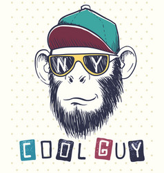 cool monkey chimpanzee dressed in sunglasses vector image vector image