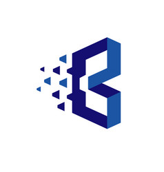 creative letter b b technology logo vector image