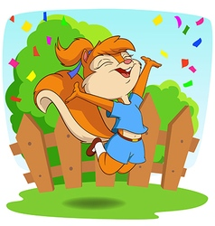 Cute cartoon squirrel in jump fly with background vector