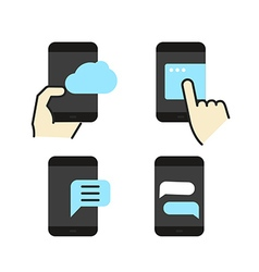 Different modern smartphone color flat icons vector image