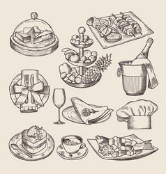 different pictures for restaurant menu in retro vector image vector image