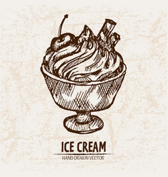 digital detailed line art sundae ice vector image