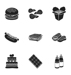 Fast food set icons in black style big collection vector