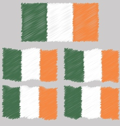 Flat and waving hand draw sketch flag of ireland vector