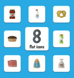 Flat icon meal set of packet beverage sack vector