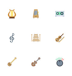 Flat icons tape fiddle knob and other vector