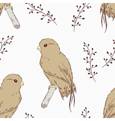 Hand drawn bird seamless pattern vector image