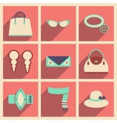 Modern flat icons collection with shadow vector
