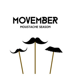 movember mustache season mustache mask on stick vector image