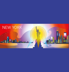 new york-city silhouette in different colors vector image
