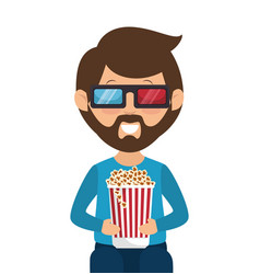 person with glasses 3d vector image