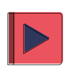 Play button icon in watercolor silhouette vector