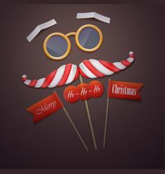 Santas mustache and glasses vector